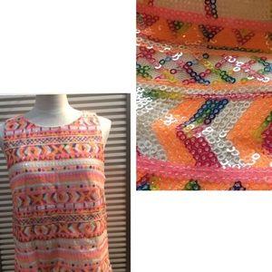 MIAMI szL fully sequined bright Aztec print tank